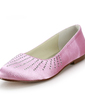 Women's Satin Flat Heel Closed Toe Flats With Rhinestone (047014154)