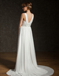 A-Line/Princess V-neck Court Train Chiffon Wedding Dress With Ruffle Beading Sequins (002011404)