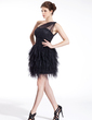 Sheath/Column One-Shoulder Short/Mini Tulle Cocktail Dress With Ruffle (016026274)