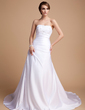 A-Line/Princess Sweetheart Chapel Train Charmeuse Wedding Dress With Beading (002014492)