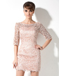Sheath/Column Scoop Neck Short/Mini Lace Mother of the Bride Dress (008006235)