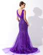 Trumpet/Mermaid Cowl Neck Court Train Tulle Mother of the Bride Dress With Beading (008006078)
