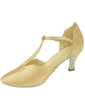 Women's Satin Heels Pumps Modern With T-Strap Dance Shoes (053013229)