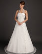 A-Line/Princess Halter Court Train Lace Wedding Dress With Ruffle Beading (002015493)