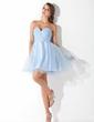 Imperialna Kochanie Krótka/Mini Chiffon Tulle Sukienka na Zjazd Absolwentów Z Żabot Perełki Cekiny (022008933)