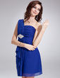 Empire One-Shoulder Short/Mini Chiffon Homecoming Dress With Beading Cascading Ruffles (022010552)