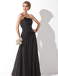 A-Line/Princess Strapless Floor-Length Chiffon Bridesmaid Dress With Ruffle Flower(s) (007001087)