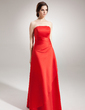 A-Line/Princess Strapless Floor-Length Satin Bridesmaid Dress With Ruffle (007001082)