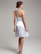 Empire Halter Knee-Length Charmeuse Bridesmaid Dress With Crystal Brooch Bow(s) Cascading Ruffles (007021071)