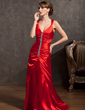A-Line/Princess V-neck Floor-Length Charmeuse Evening Dress With Ruffle Beading (017014840)