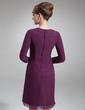 Çan/Prenses V Yaka Diz Hizası Chiffon Gelin Annesi Elbisesi Ile Büzgü Boncuklama (008006539)