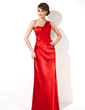Sheath/Column One-Shoulder Floor-Length Charmeuse Evening Dress With Ruffle Beading (017022549)