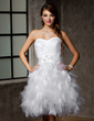 A-Line/Princess Sweetheart Knee-Length Tulle Wedding Dress With Lace Beading Sequins Bow(s) Cascading Ruffles (002012778)