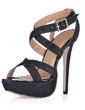 Leatherette Stiletto Heel Sandals Platform Slingbacks With Buckle shoes (087017930)