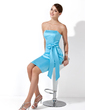 Sheath/Column Strapless Knee-Length Satin Bridesmaid Dress With Bow(s) (007013112)