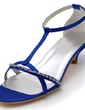 Women's Satin Cone Heel Sandals With Buckle Rhinestone (047039716)