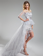 A-Line/Princess Sweetheart Asymmetrical Detachable Tulle Prom Dress With Beading Sequins (018019751)