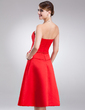 A-Line/Princess Strapless Knee-Length Satin Bridesmaid Dress With Sash Beading Bow(s) (007001570)