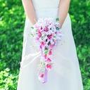 Girly Cascade Satin/Artificial Silk Bridal Bouquets