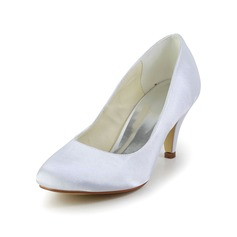 Women's Satin Cone Heel Closed Toe Pumps