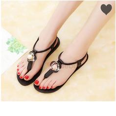 Kvinnor PU Flat Heel Sandaler med Blomma skor