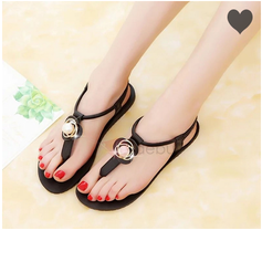 Women's PU Flat Heel Sandals With Flower shoes