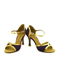 Women's Satin Leatherette Heels Latin With Buckle Hollow-out Dance Shoes