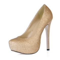 Women's Sparkling Glitter Stiletto Heel Closed Toe Platform Pumps