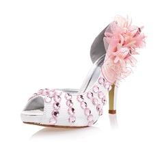 Women's Silk Like Satin Stiletto Heel Peep Toe With Rhinestone Flower