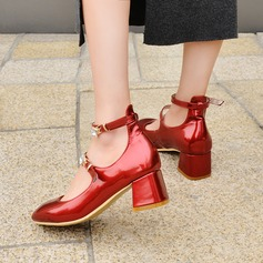 Women's Leatherette Chunky Heel Pumps Closed Toe Mary Jane With Buckle shoes