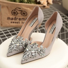 Women's Suede Stiletto Heel Pumps With Rhinestone