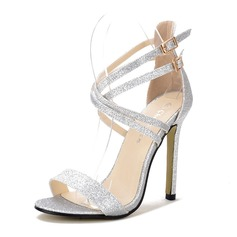 Women's Sparkling Glitter Stiletto Heel Sandals Peep Toe With Buckle shoes