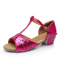 Women's Leatherette Sparkling Glitter Sandals Latin With T-Strap Buckle Hollow-out Dance Shoes