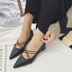 Women's PU Chunky Heel Pumps Closed Toe With Lace-up shoes