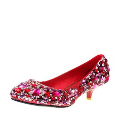 Women's Leatherette Kitten Heel Closed Toe Pumps With Rhinestone