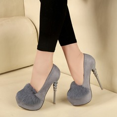 Femmes Similicuir Talon stiletto Escarpins Plateforme avec Fourrure Talon de bijoux chaussures