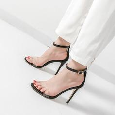 Dla kobiet PVC Obcas Stiletto Sandały Czólenka Otwarty Nosek Buta Z Klamra obuwie