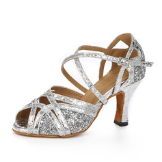 Women's Sparkling Glitter Heels Sandals Latin With Ankle Strap Dance Shoes