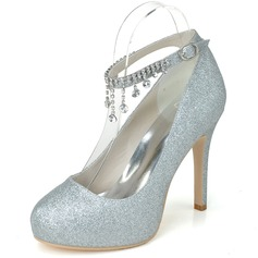 Women's Sparkling Glitter Closed Toe Platform Pumps With Rhinestone Tassel