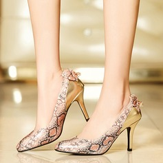 Femmes Similicuir Talon stiletto Escarpins avec Bowknot La copie Animale chaussures