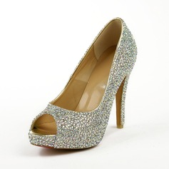 Suede Stiletto Heel Peep Toe Platform Sandals With Rhinestone