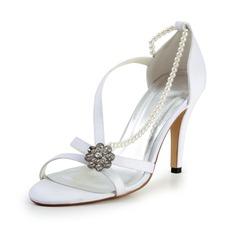 Women's Silk Like Satin Cone Heel Sandals With Imitation Pearl Rhinestone