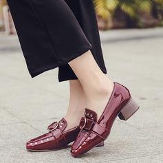 Femmes Cuir verni Talon bas Chaussures plates avec Rivet Boucle chaussures