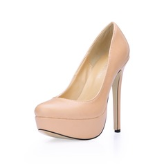 Leatherette Stiletto Heel Closed Toe Platform Pumps