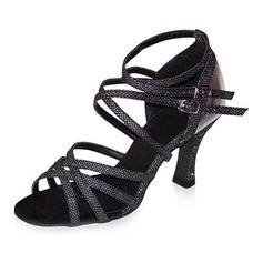 Women's Sparkling Glitter Patent Leather Heels Sandals Latin Salsa With Ankle Strap Dance Shoes
