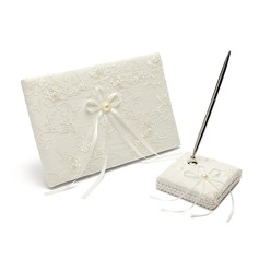 Cute Faux Pearl/Ribbons/Lace Guestbook & Pen Set