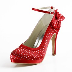 Women's Satin Cone Heel Closed Toe Platform Pumps With Bowknot Buckle Rhinestone