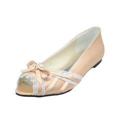 Women's Satin Flat Heel Peep Toe With Bowknot