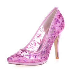 Women's Lace Stiletto Heel Closed Toe Pumps With Sequin