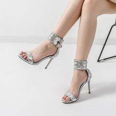 Femmes Pailletes scintillantes Talon stiletto Sandales Escarpins À bout ouvert avec Paillette Boucle chaussures